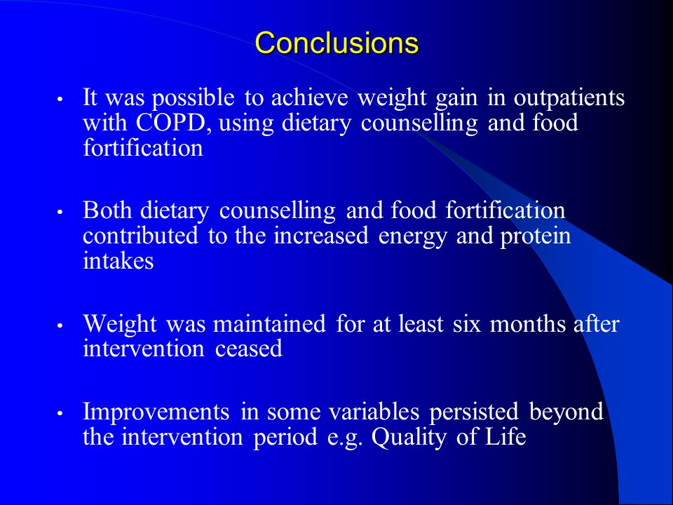 Conclusions It was possible to achieve weight gain in outpatients with COPD, using dietary counselling and food fortification.