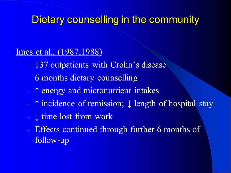 Dietary counselling in the community