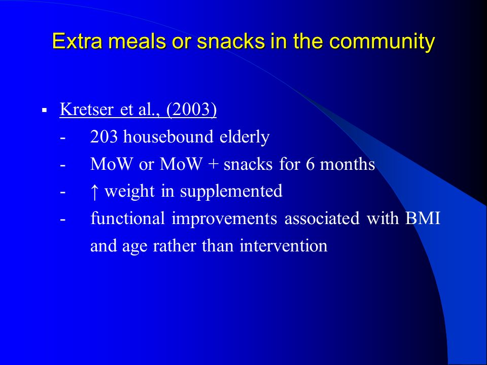 Extra meals or snacks in the community