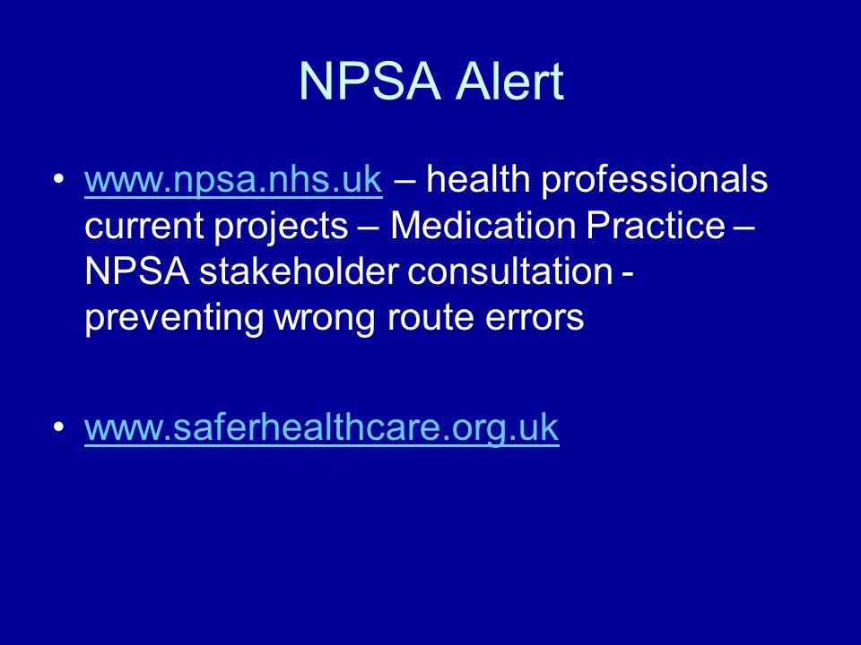 NPSA Alert