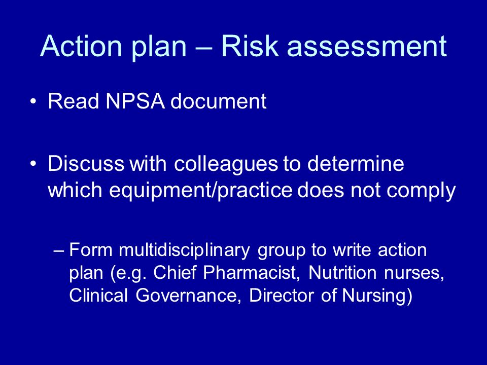 Action plan – Risk assessment