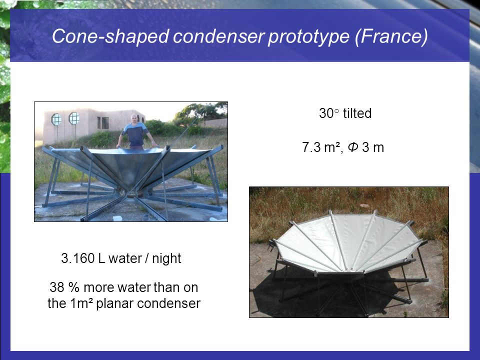Cone-shaped condenser prototype (France)