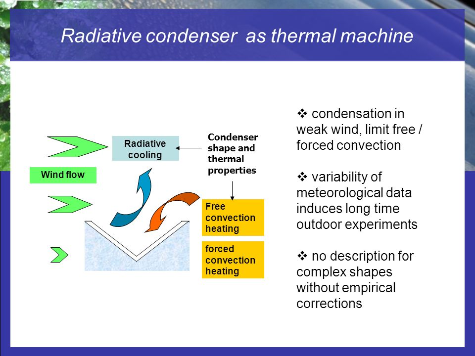 Radiative condenser as thermal machine