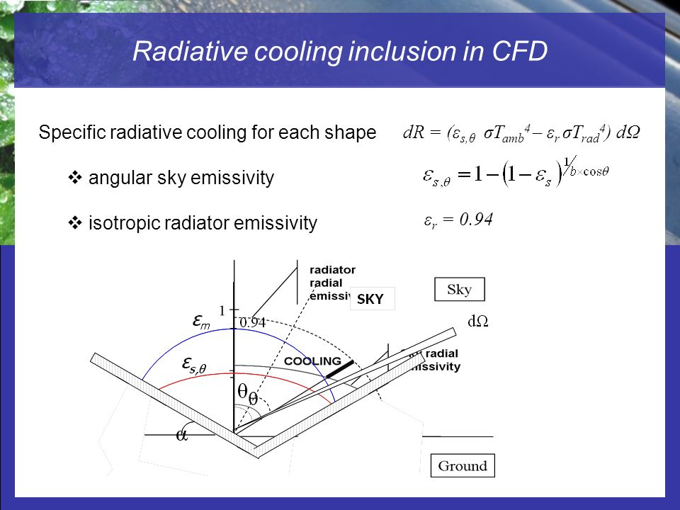 Radiative cooling inclusion in CFD