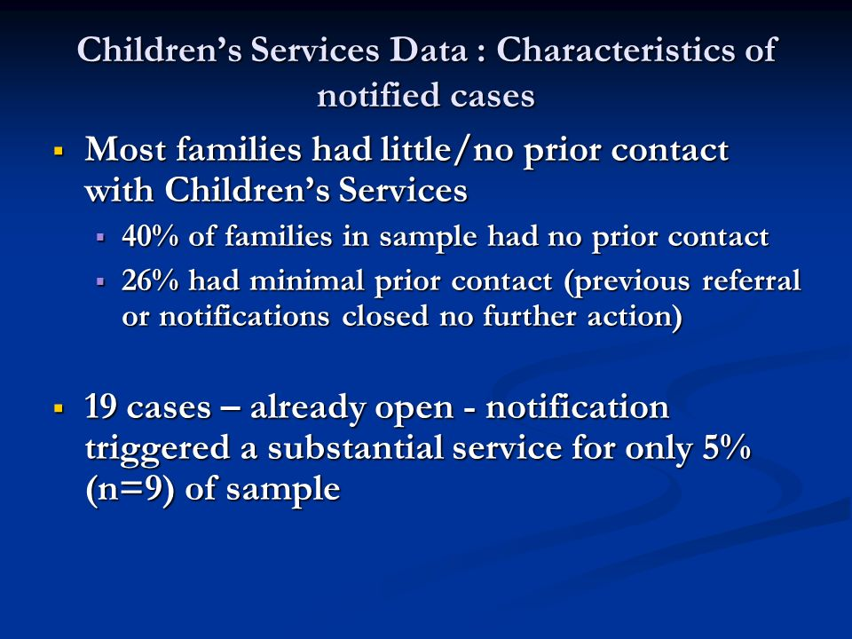 Children's Services Data : Characteristics of notified cases