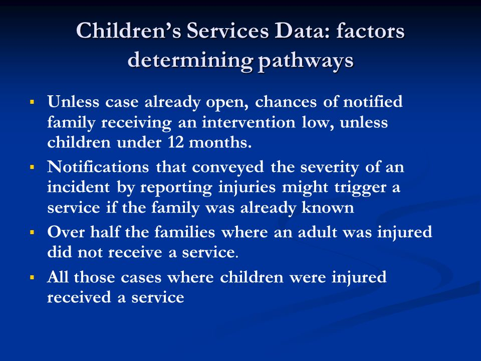 Children's Services Data: factors determining pathways