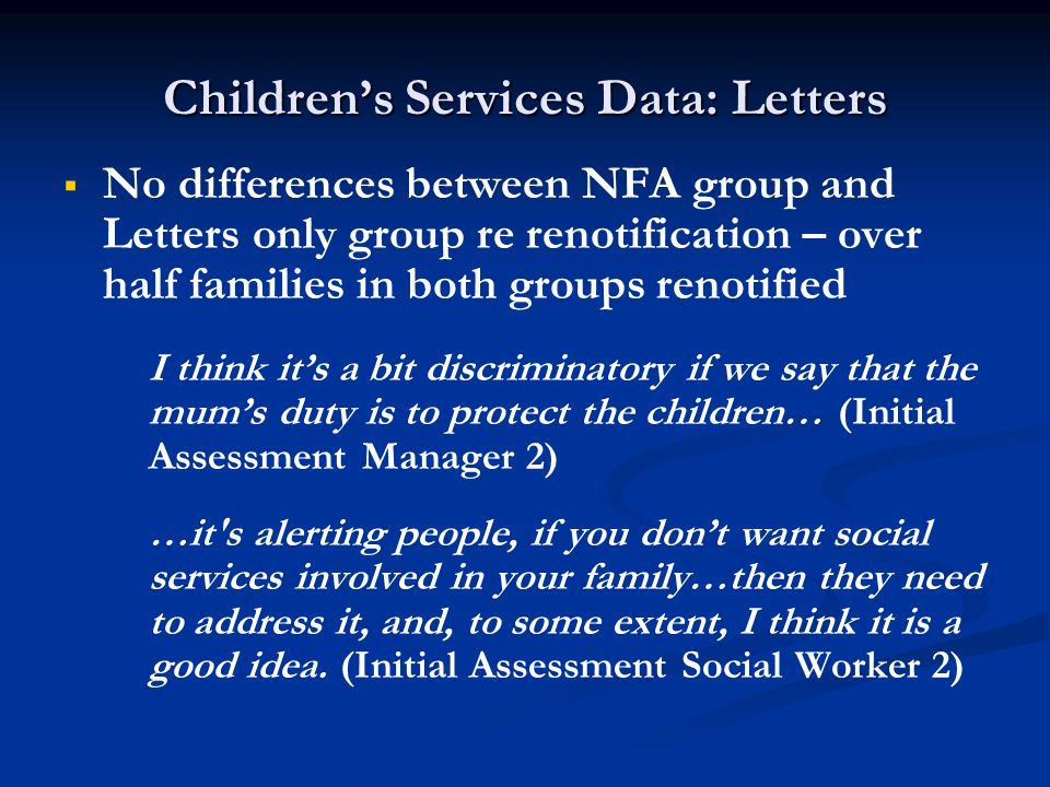 Children's Services Data: Letters