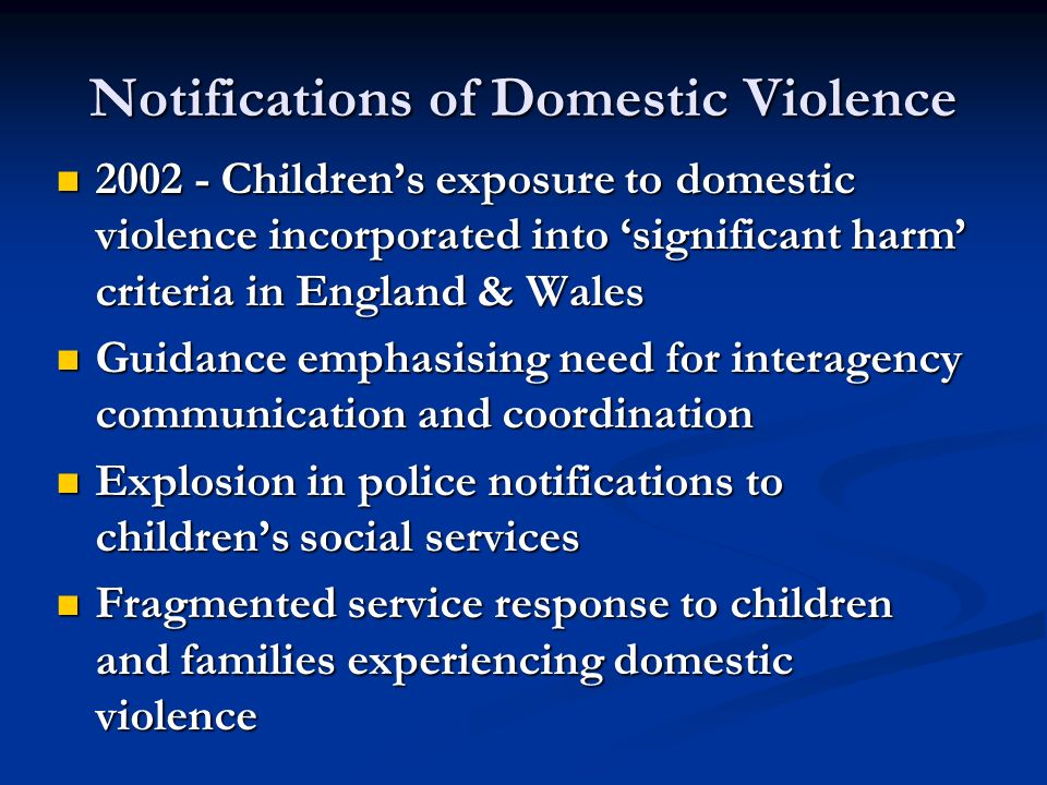 Notifications of Domestic Violence