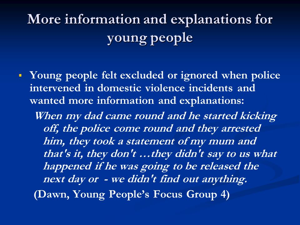More information and explanations for young people