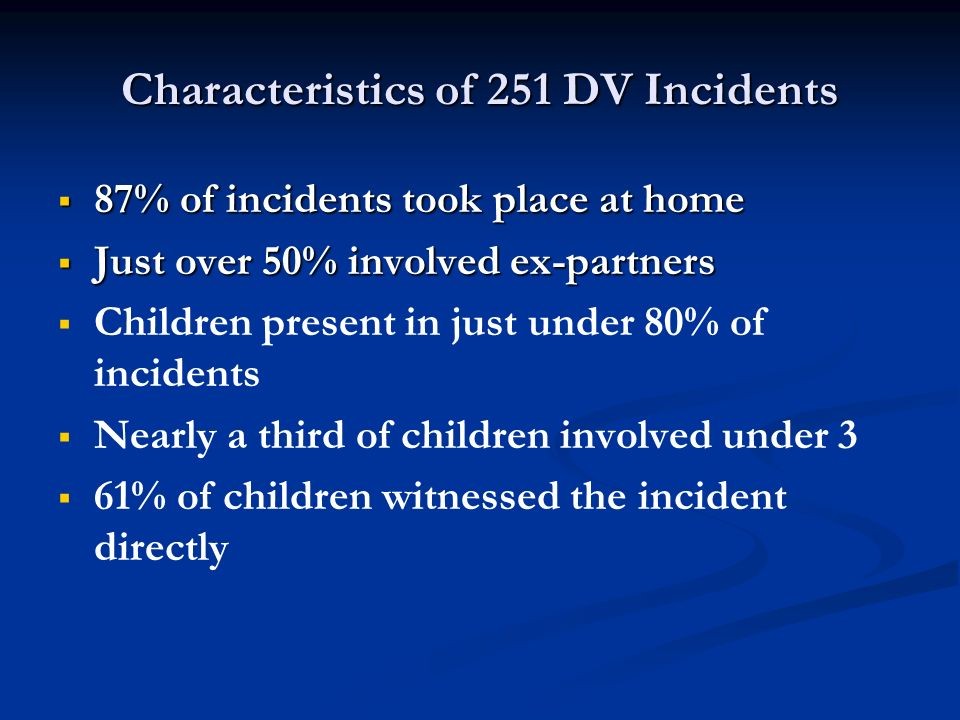 Characteristics of 251 DV Incidents