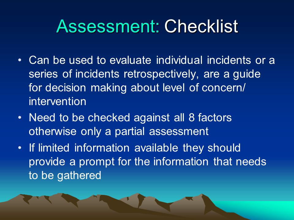 Assessment: Checklist