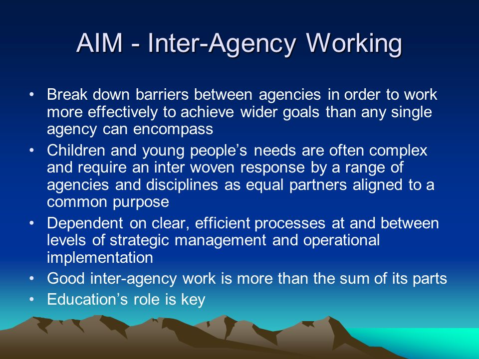AIM - Inter-Agency Working