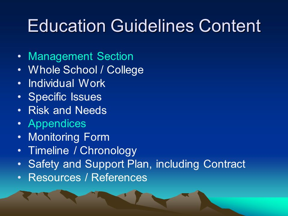 Education Guidelines Content
