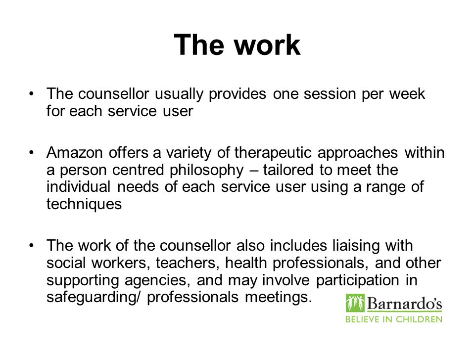 The work The counsellor usually provides one session per week for each service user.