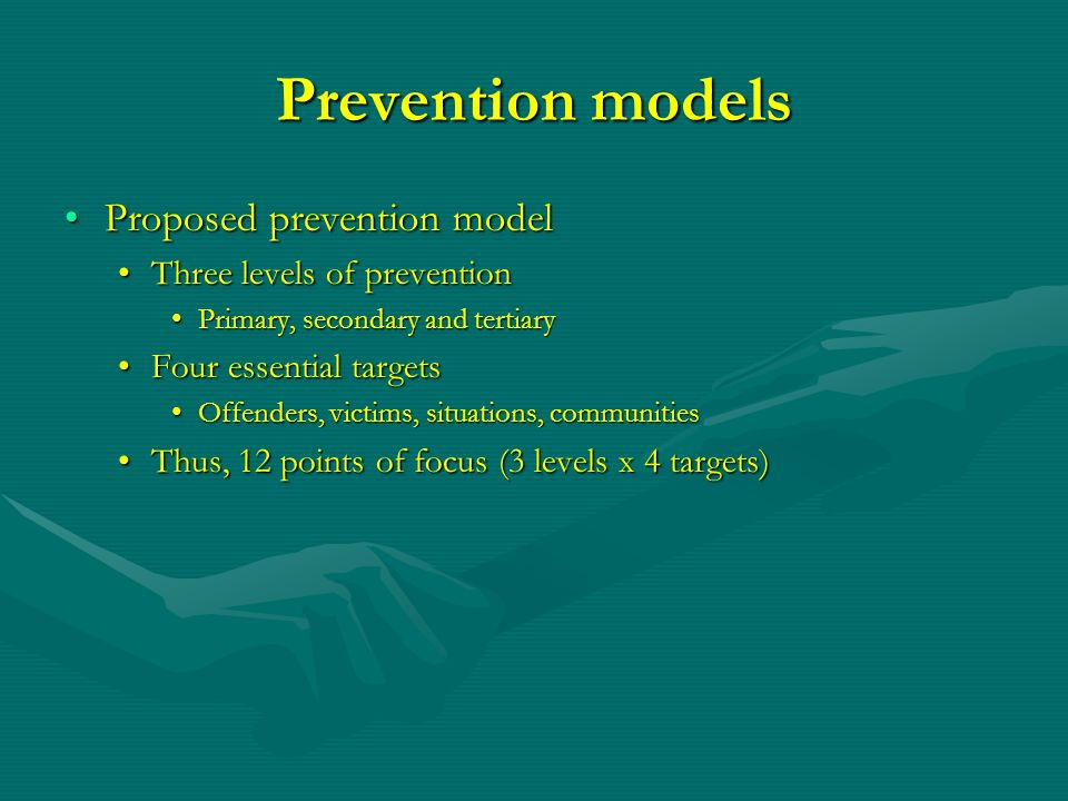 Prevention models Proposed prevention model Three levels of prevention