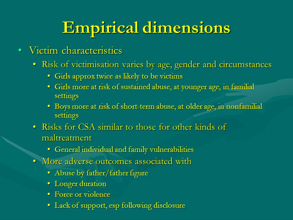 Empirical dimensions Victim characteristics