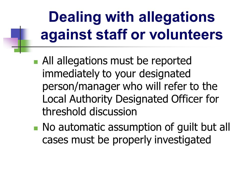 Dealing with allegations against staff or volunteers