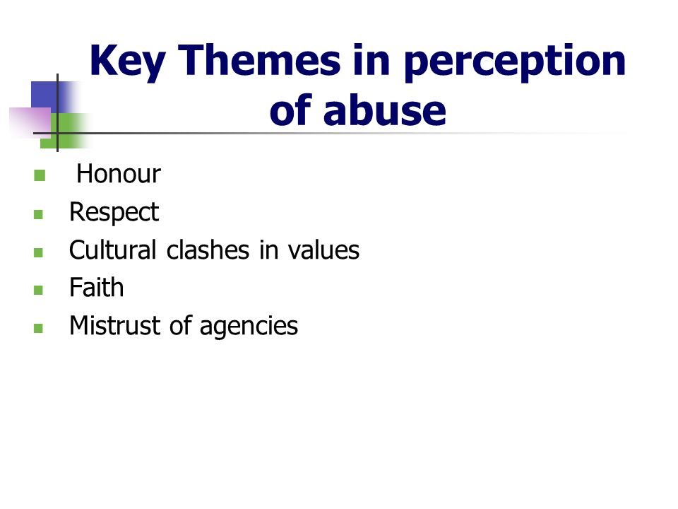 Key Themes in perception of abuse