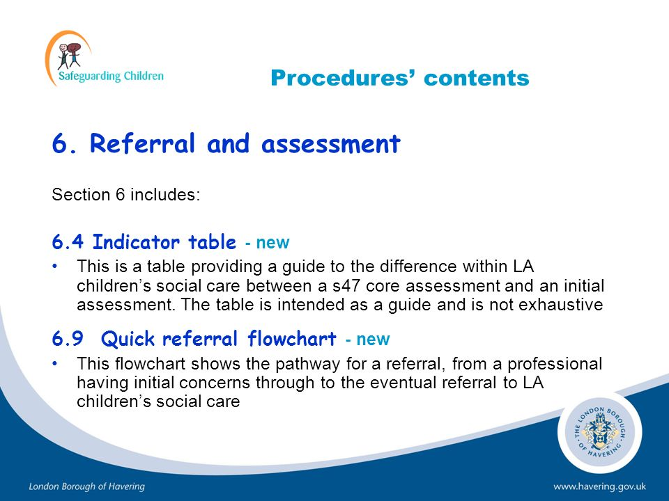 6. Referral and assessment