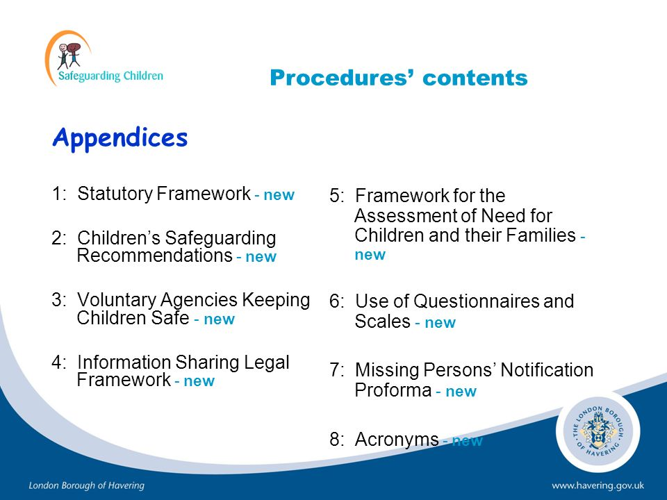 Appendices Procedures' contents 1: Statutory Framework - new