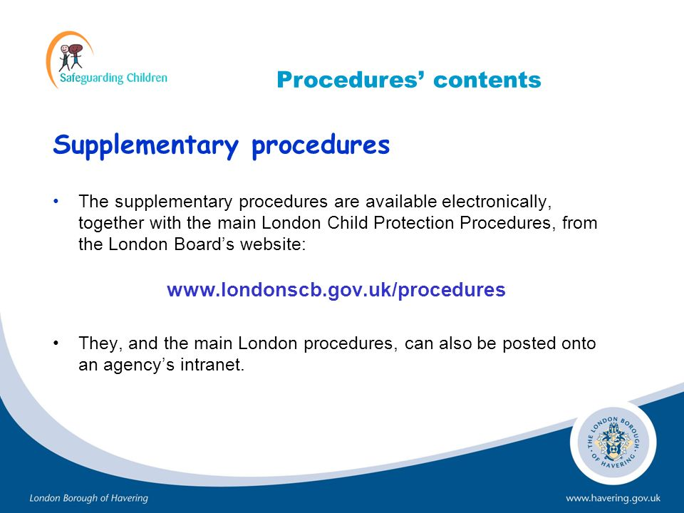 Supplementary procedures