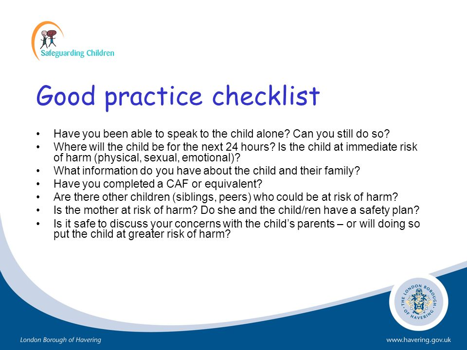 Good practice checklist
