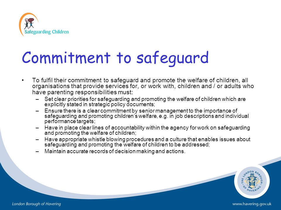 Commitment to safeguard