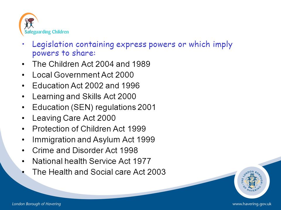 Legislation containing express powers or which imply powers to share: