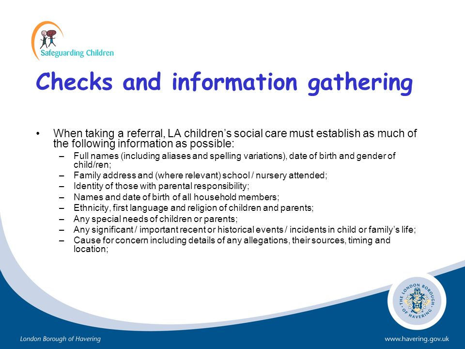 Checks and information gathering