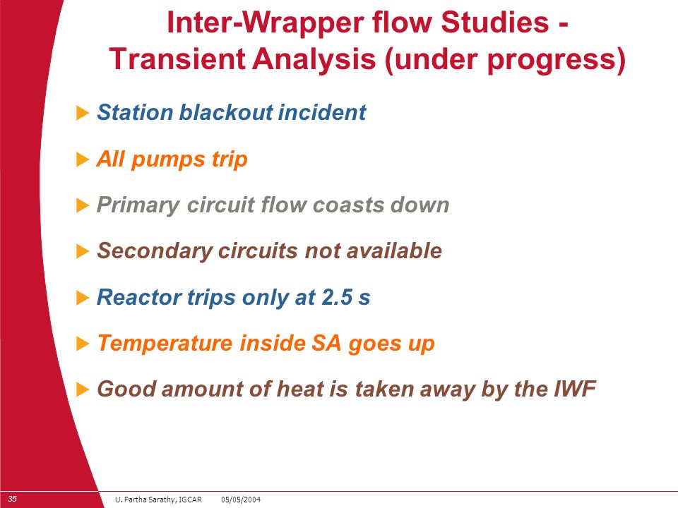 Inter-Wrapper flow Studies - Transient Analysis (under progress)