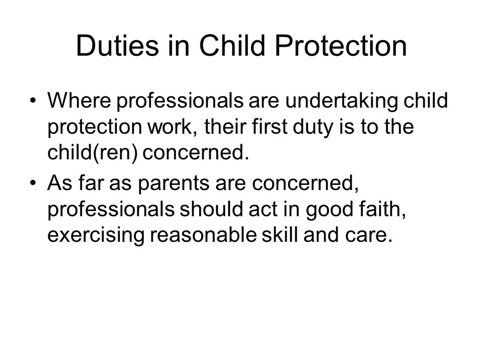 Duties in Child Protection