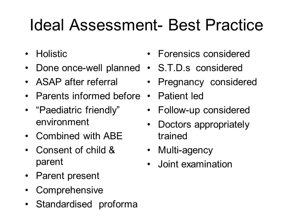 Ideal Assessment- Best Practice