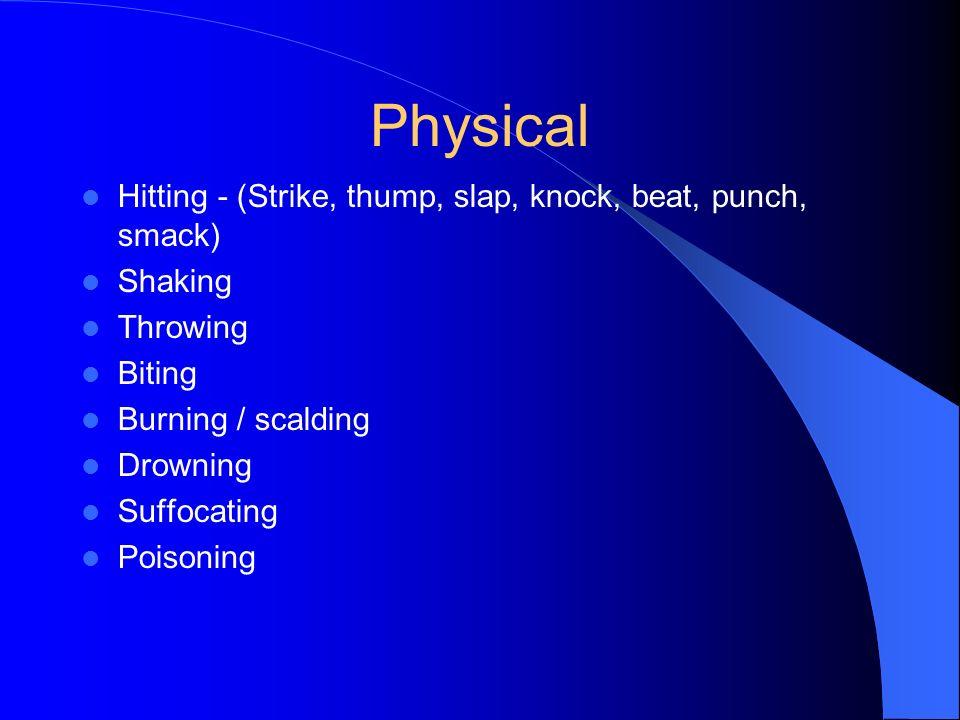 Physical Hitting - (Strike, thump, slap, knock, beat, punch, smack)