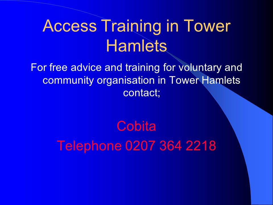 Access Training in Tower Hamlets