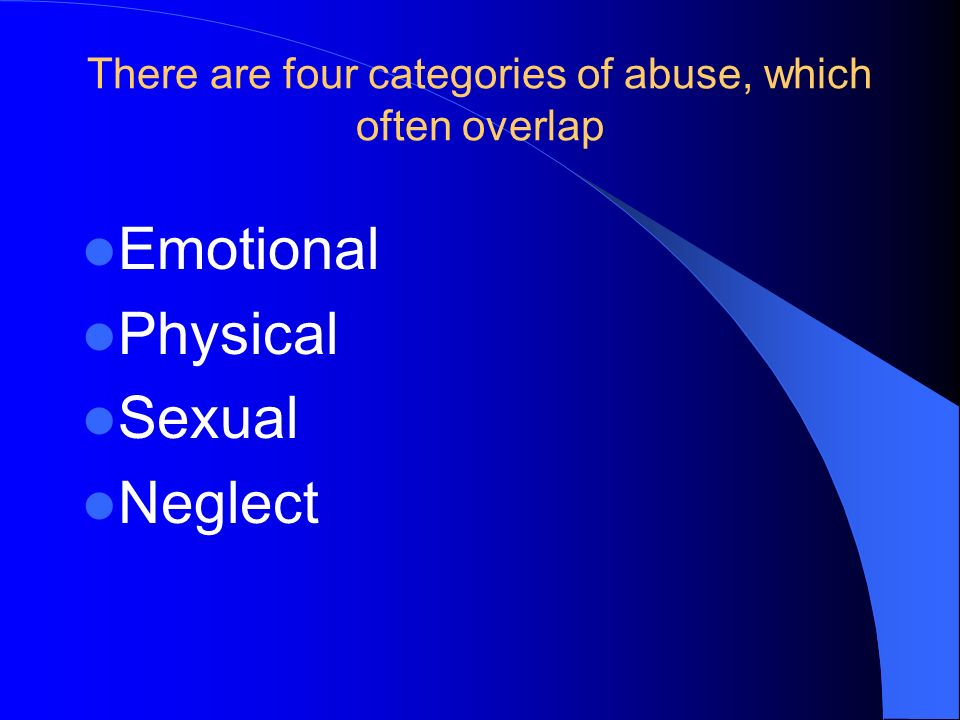 There are four categories of abuse, which often overlap