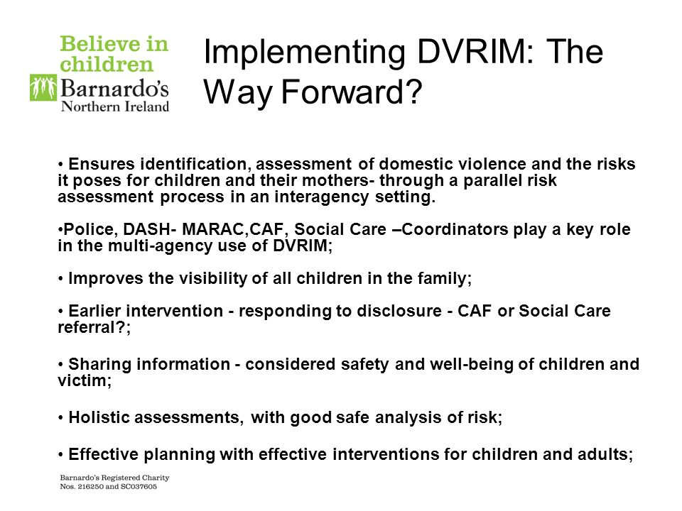 Implementing DVRIM: The Way Forward