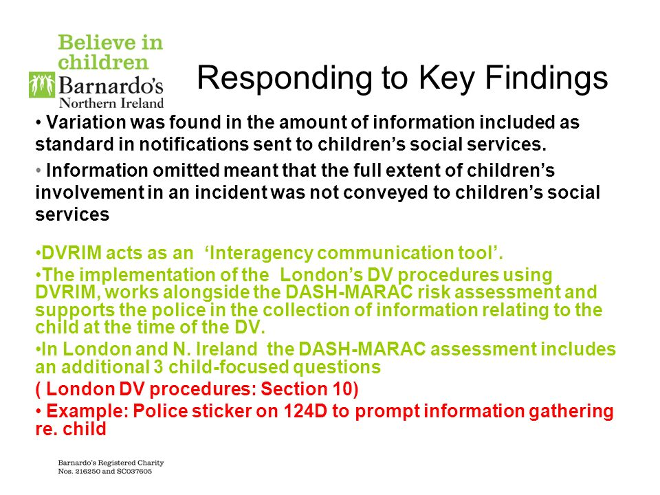 Responding to Key Findings