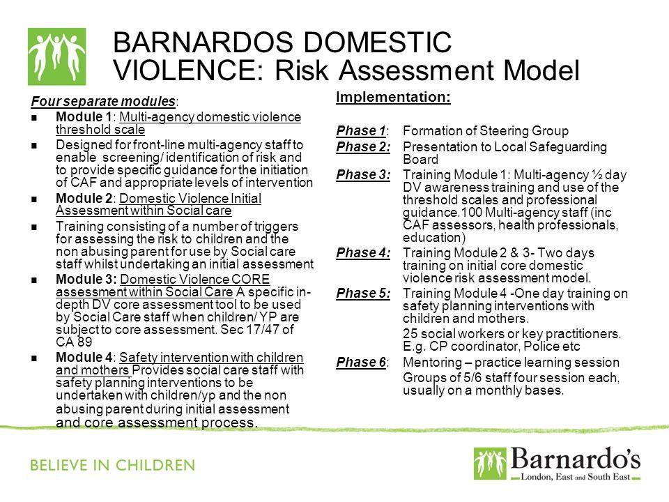 BARNARDOS DOMESTIC VIOLENCE: Risk Assessment Model