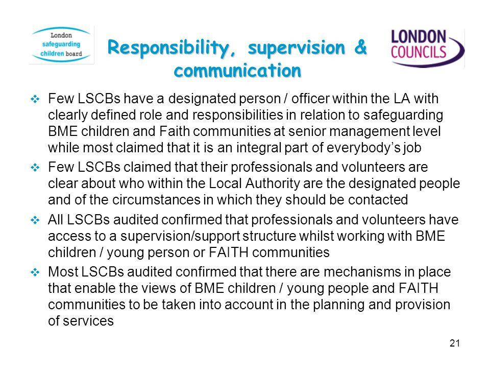 Responsibility, supervision & communication