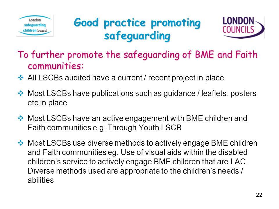 Good practice promoting safeguarding