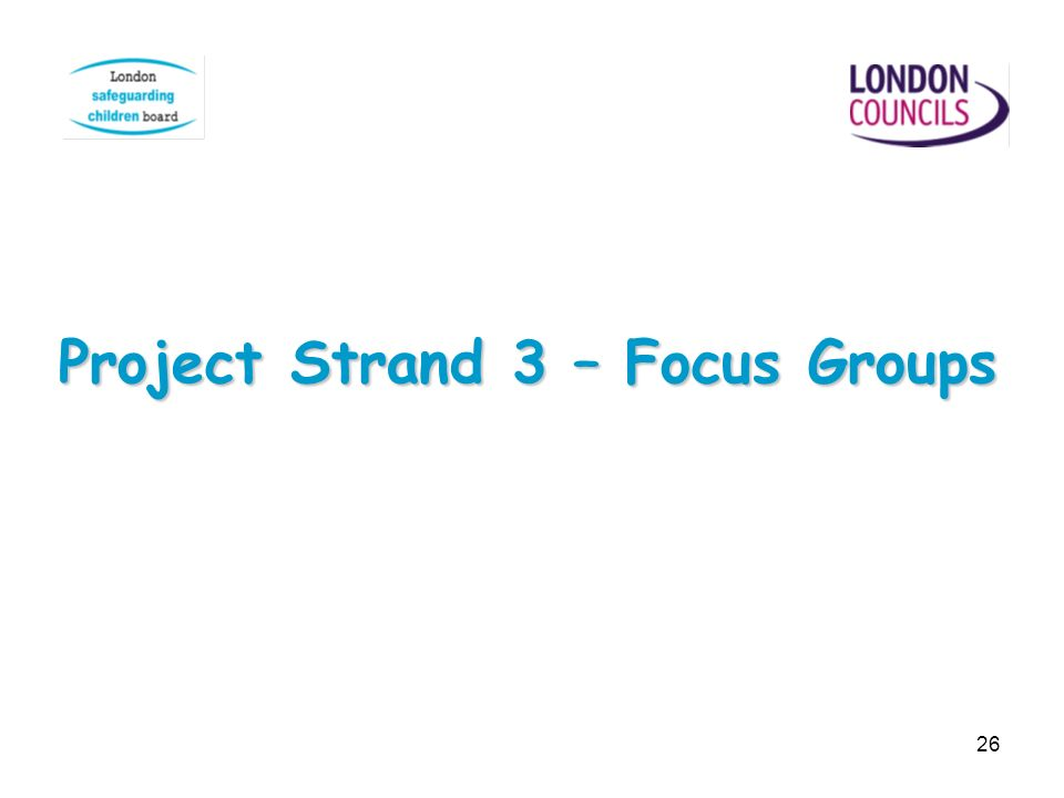 Project Strand 3 – Focus Groups