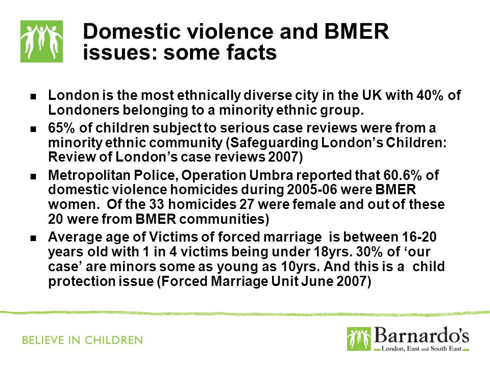 Domestic violence and BMER issues: some facts