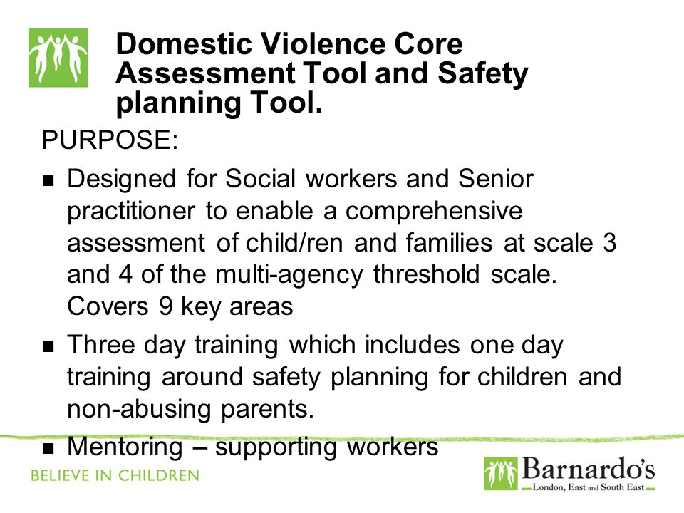 Domestic Violence Core Assessment Tool and Safety planning Tool.