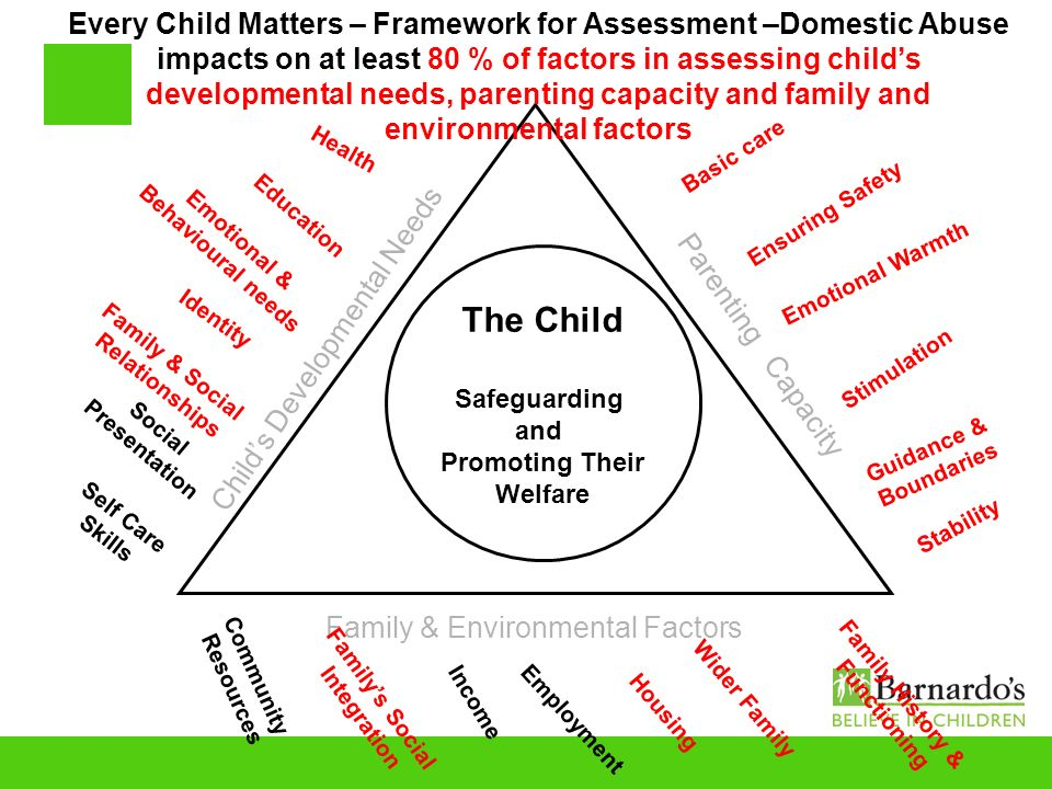 Every Child Matters – Framework for Assessment –Domestic Abuse impacts on at least 80 % of factors in assessing child's developmental needs, parenting capacity and family and environmental factors