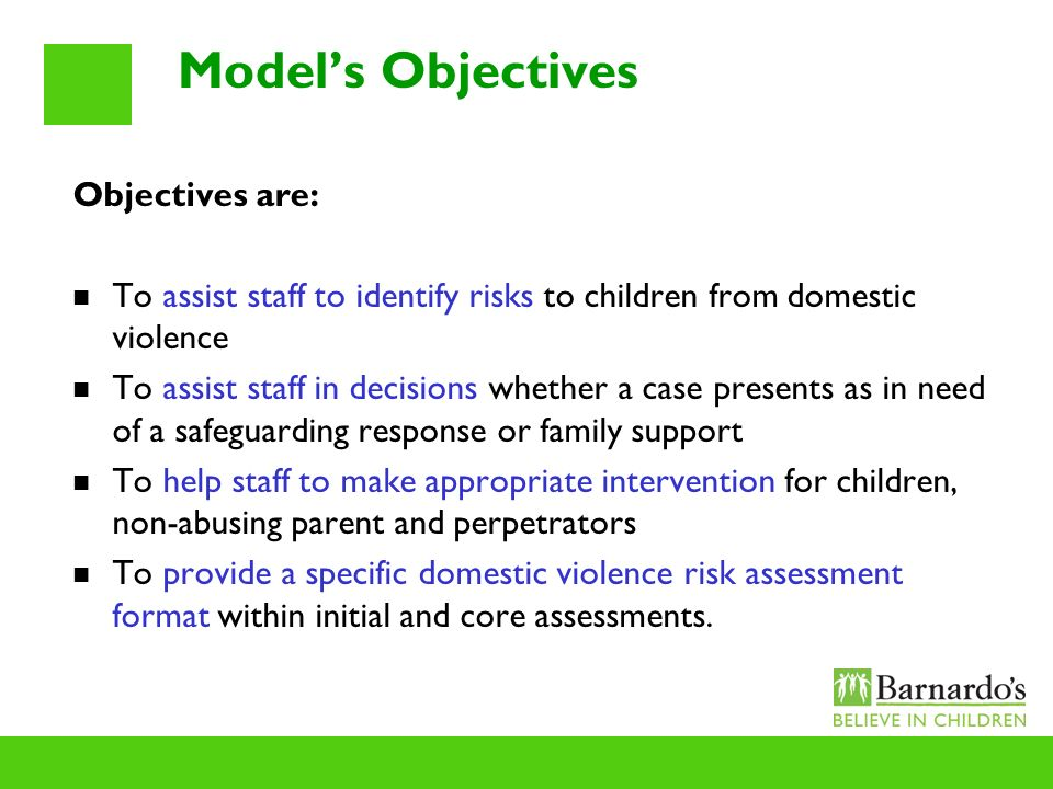 Model's Objectives Objectives are: