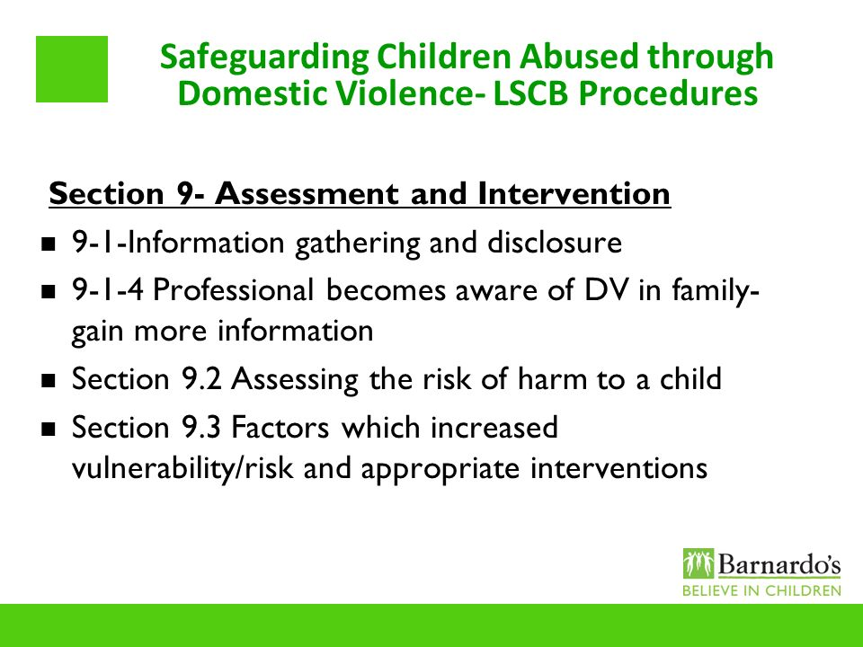 Safeguarding Children Abused through Domestic Violence- LSCB Procedures