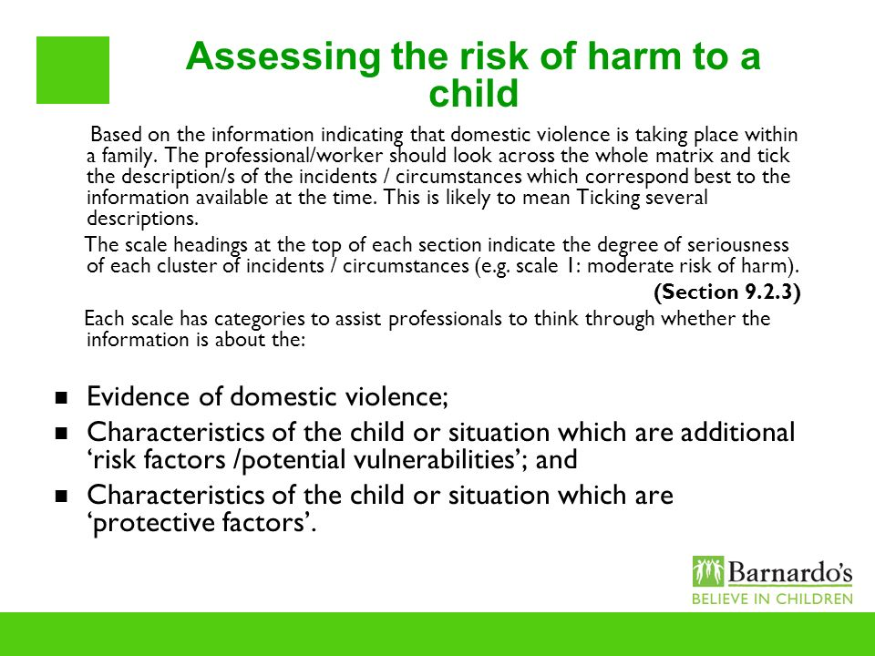 Assessing the risk of harm to a child