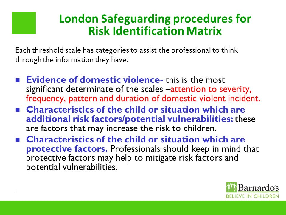 London Safeguarding procedures for Risk Identification Matrix