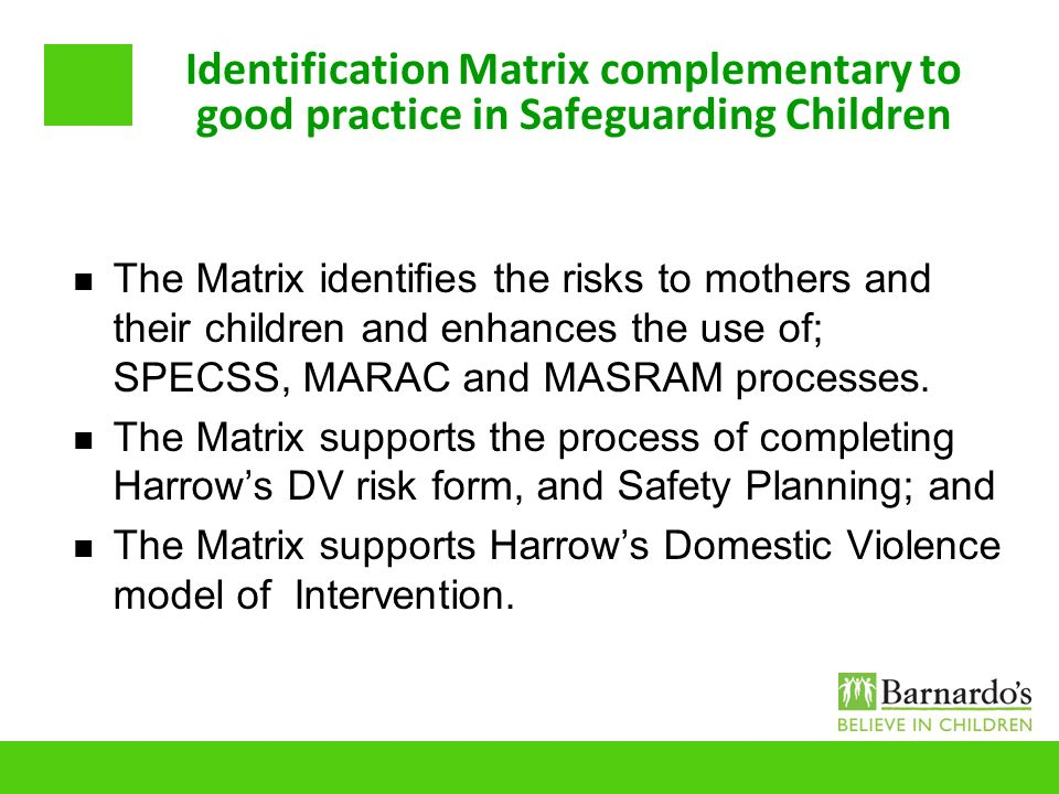 Identification Matrix complementary to good practice in Safeguarding Children