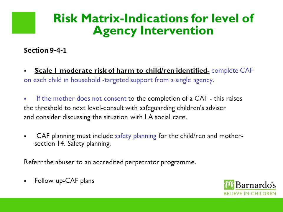Risk Matrix-Indications for level of Agency Intervention